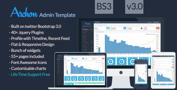 Archon Flat Responsive Admin Bootstrap 3 Template