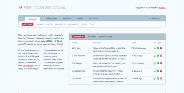 Pink Diamond Admin - Admin Templates Site Templates