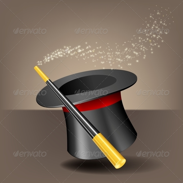 GraphicRiver Magic Hat and Wand with Sparkles 6041648