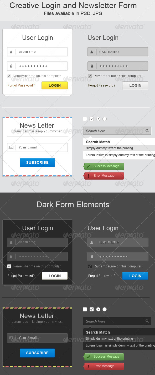 GraphicRiver Creative Login and Newsletter Form 6042167