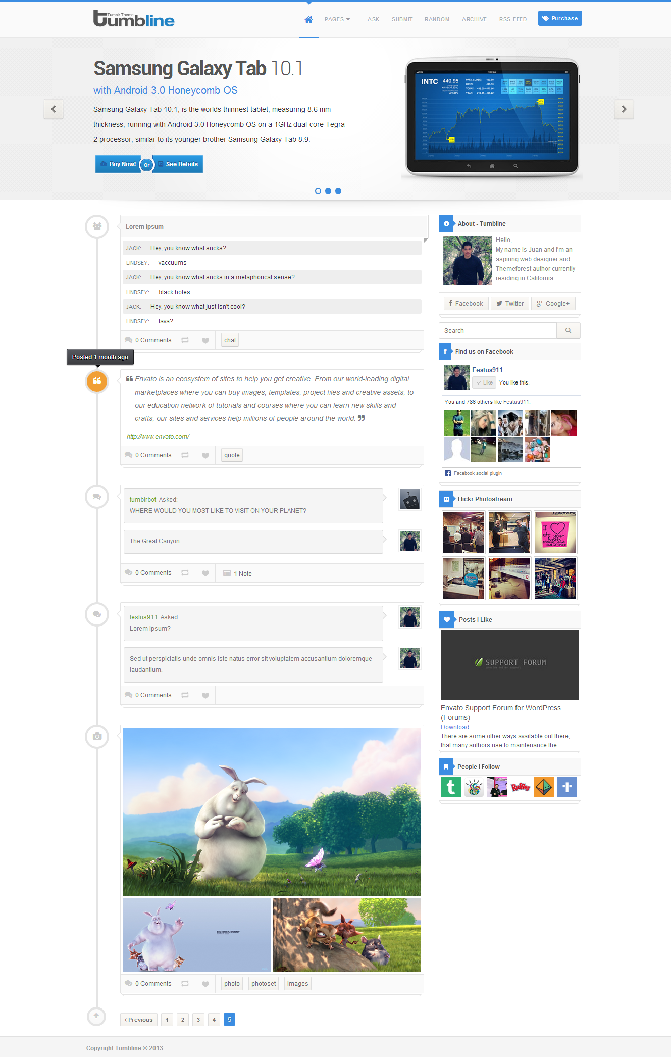 Tumbline - Tumblr Theme