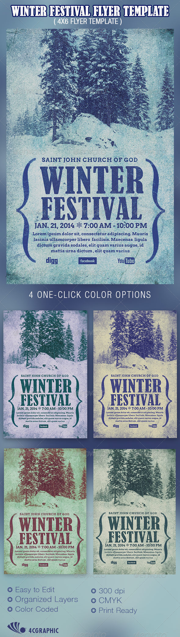 GraphicRiver Winter Festival Flyer Template 6023334