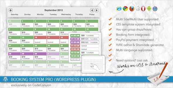 Booking System PRO - Responsive WordPress Plugin