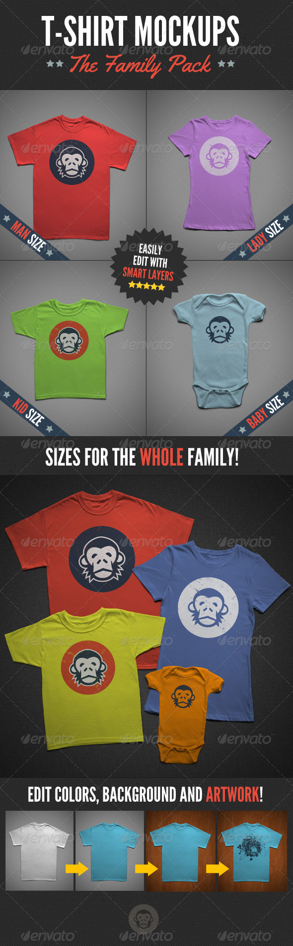 GraphicRiver T-Shirt Mock-Ups Family Pack 6043921