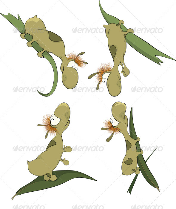 GraphicRiver Green Worms on a Leaf Cartoon 6044706