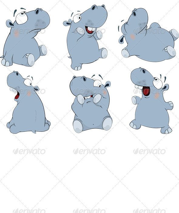 GraphicRiver Blue Hippopotamuses Cartoon 6044723