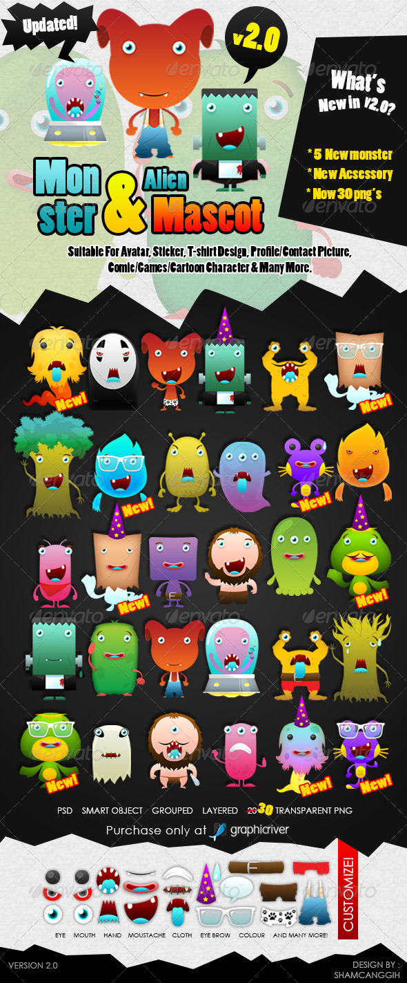 Monster and Alien Mascot ver 2.0 - Characters Illustrations
