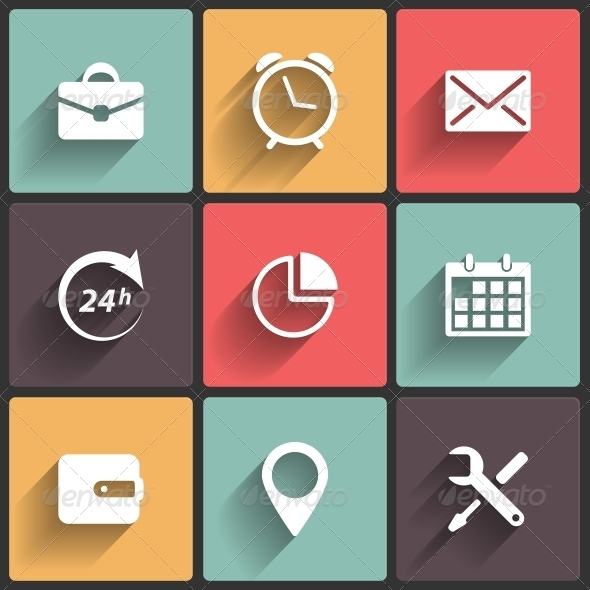 GraphicRiver Application Web Icons in Flat Design 6045451