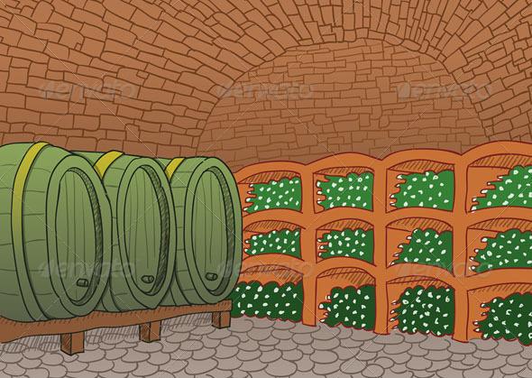GraphicRiver Wine Cellar Illustration 5020565