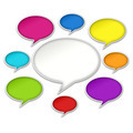 Colorful Chat Bubbles Conversation on White Background - PhotoDune Item for Sale