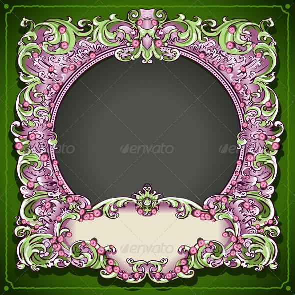 GraphicRiver Vintage Floral Spring Frame 6046045