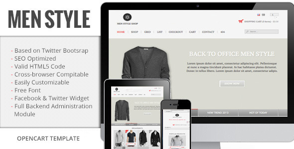 ThemeForest Men Style Premium Responsive OpenCart Template 6004606