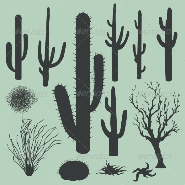 Vector Set of Silhouettes of Cactus