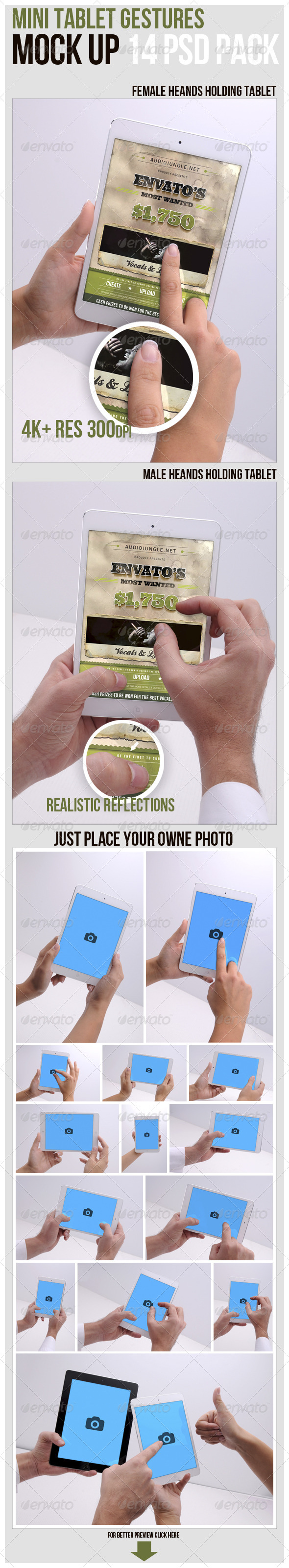 GraphicRiver Mini Tablet Gestures Mockup 6038017