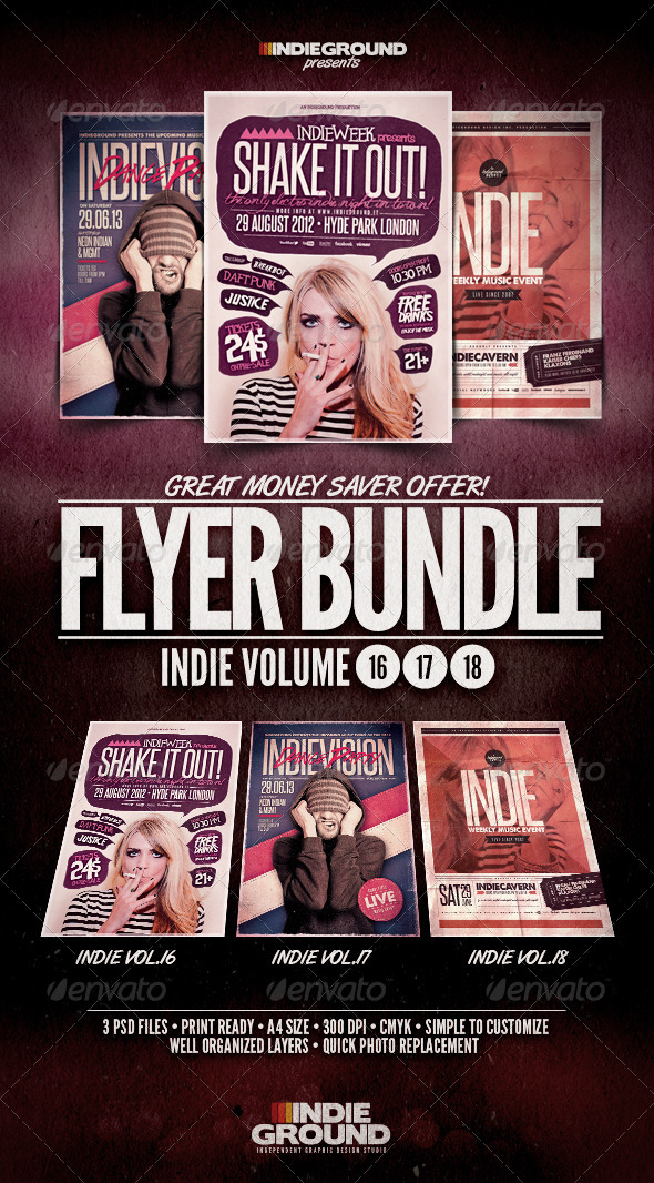 Indie Flyer/Poster Bundle Vol. 16-18 - Events Flyers