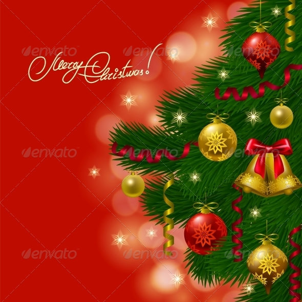 GraphicRiver Background with Baubles Christmas Tree 6047227