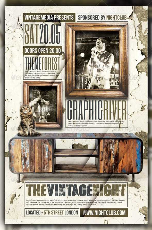 GraphicRiver Vintage Retro Indie Rock Concert Flyer Poster 6047375