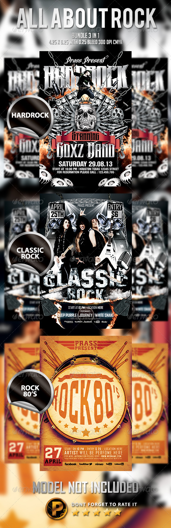 GraphicRiver All About Rock Bundle 3 In 1 6042442