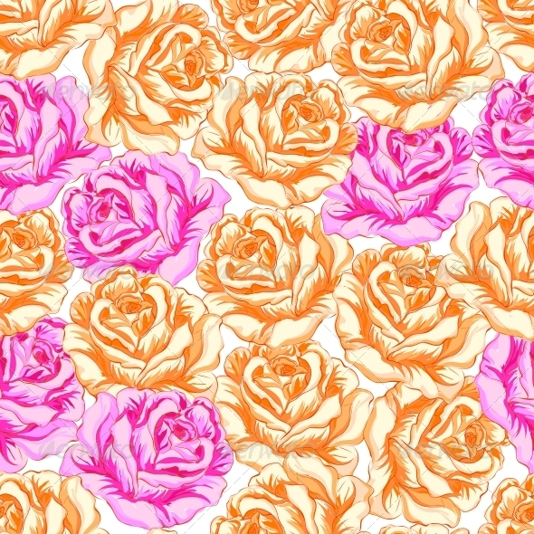 GraphicRiver Seamless Pattern with Orange and Pink Roses 6048243