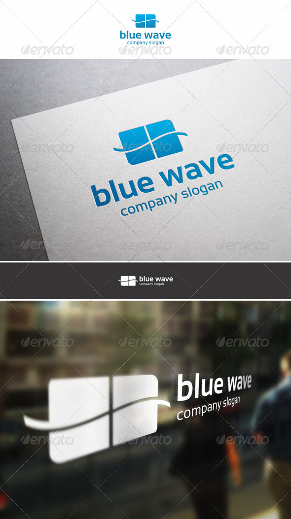 GraphicRiver Blue Wave Logo Template 6048258