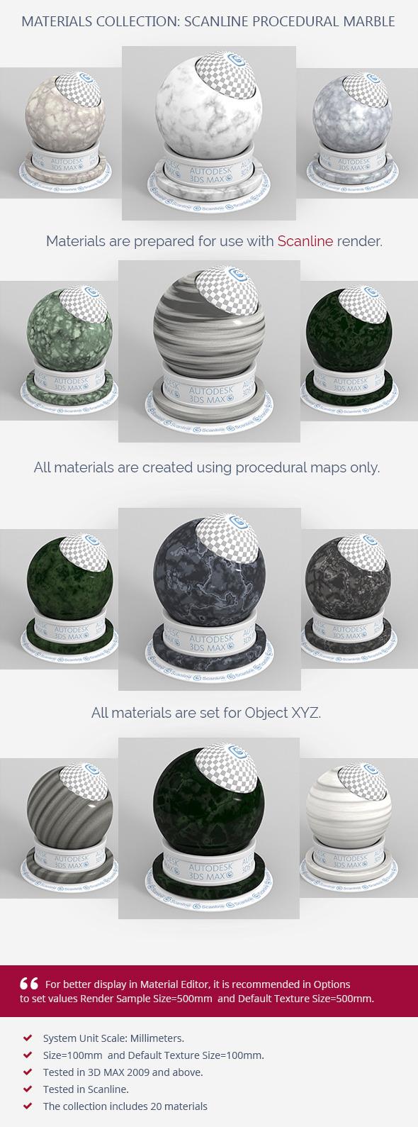 Scanline Procedural Marble - 3DOcean Item for Sale