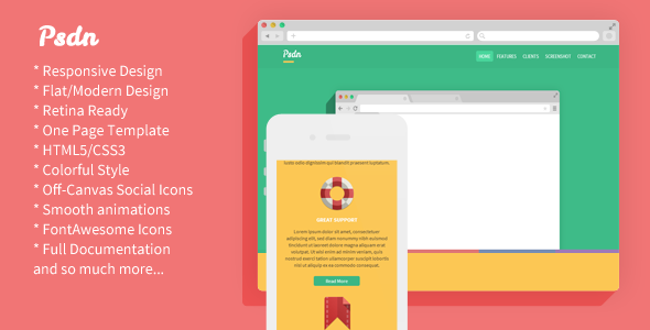 Psdn - Colorful Responsive Landing Page