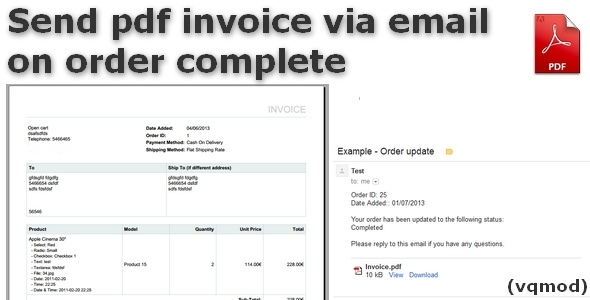 Send pdf invoice via email on order Complete