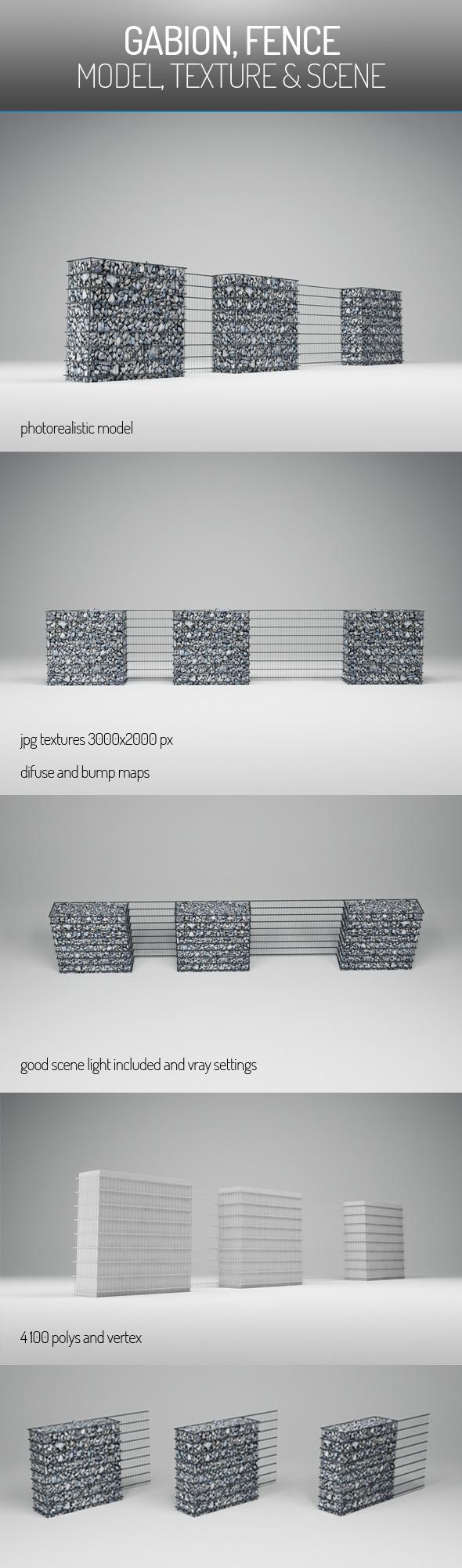 Gabion Fence - 3DOcean Item for Sale