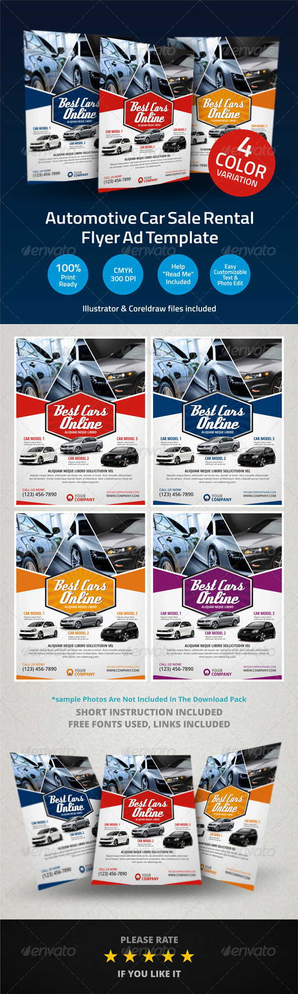 Car Rental Flyer Template - For rent advertisement template