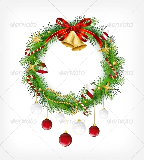GraphicRiver Christmas Garland with Bells and Holly Berry 6049669