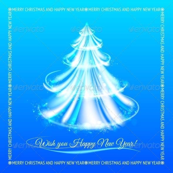 GraphicRiver Abstract Blue Christmas Tree Background 6049685