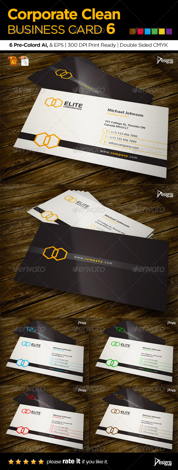 GraphicRiver Corporate Clean Business Card 6 6049742