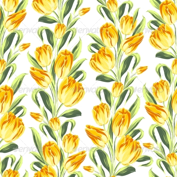 GraphicRiver Seamless Pattern with Tulips 6049774