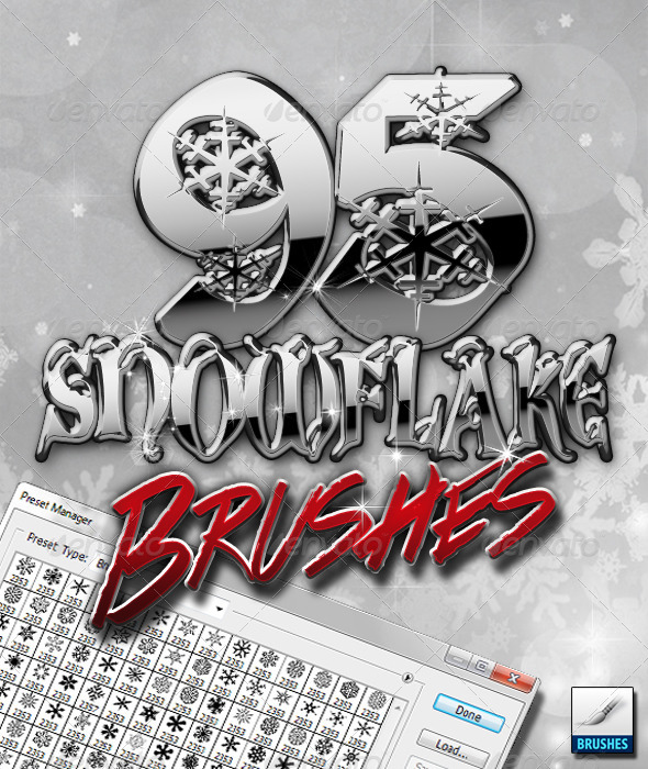 GraphicRiver 95 Snowflake Brushes 6049919