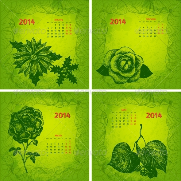 GraphicRiver Colourful 2014 Year Vector Calendar 6050111