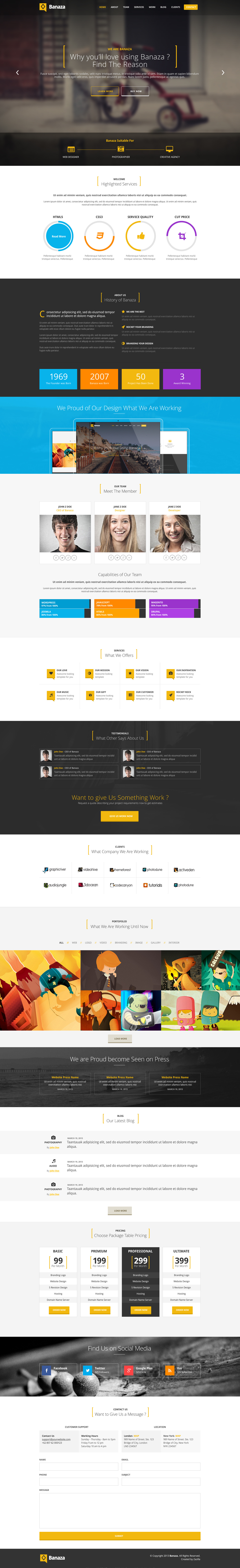 Banaza - Ultimate Flat One Page  PSD Template