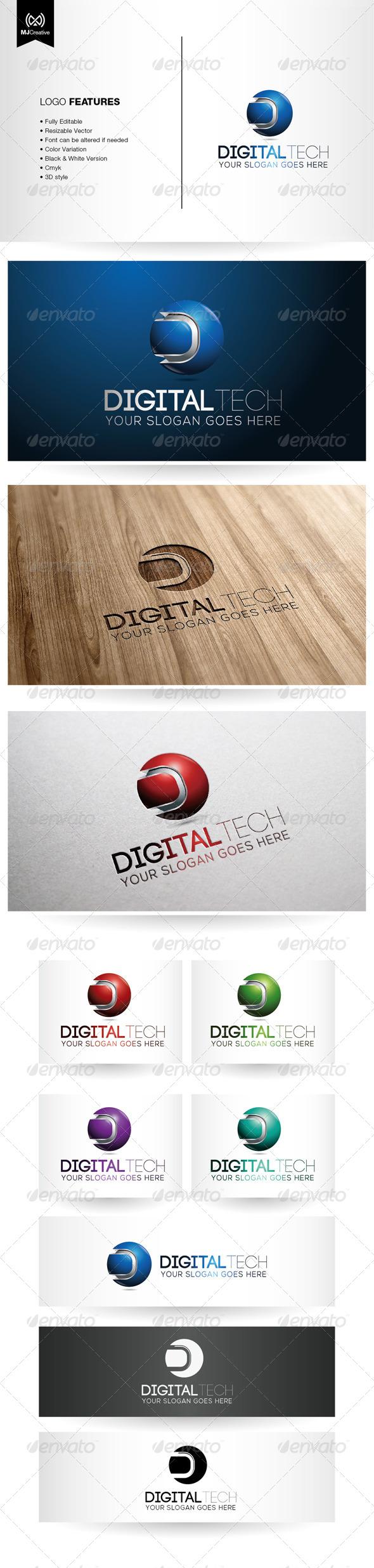 GraphicRiver Letter D Tech Logo 6050557