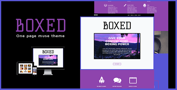 Boxed - One Page Muse Theme - Creative Muse Templates