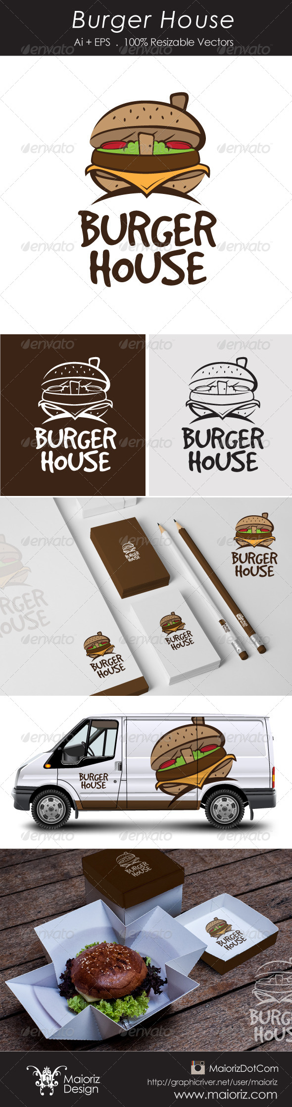 Burger House Logotype - Food Logo Templates