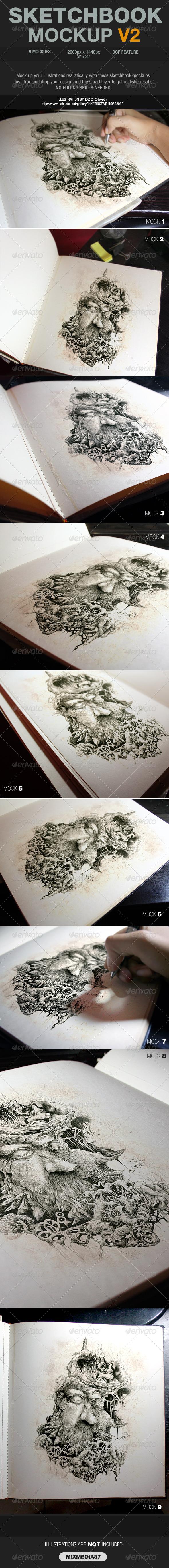Sketchbook Mockup V2 - Product Mock-Ups Graphics