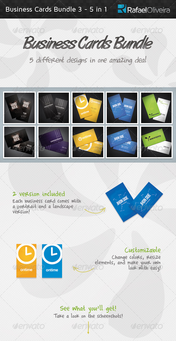 Business Cards Bundle 3 - 5 in 1 - Corporate Business Cards