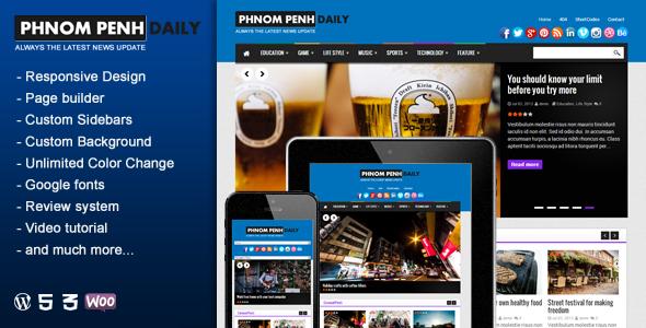 ThemeForest Phnom Penh Daily WordPress Blog & Magazine Theme 6008109