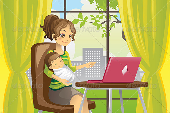 GraphicRiver Mother and Baby using Laptop 6053589