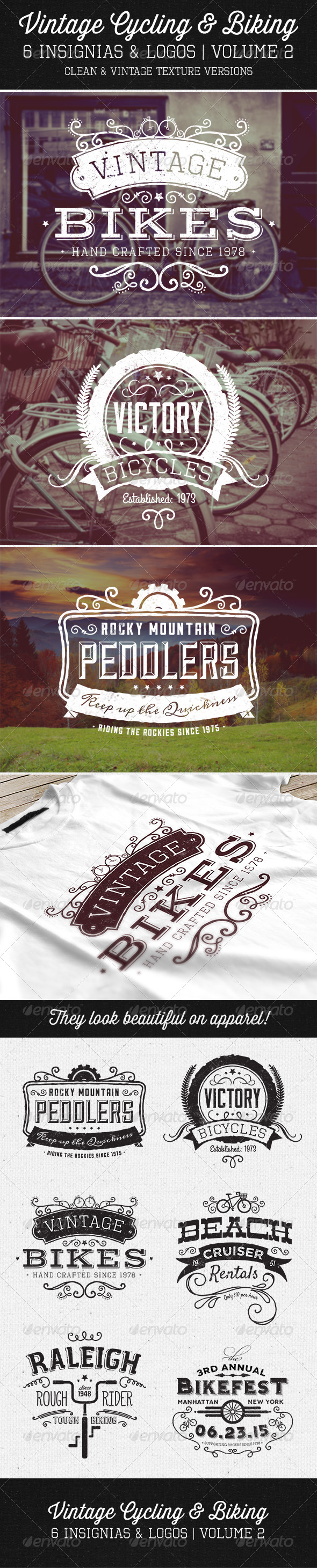 GraphicRiver Vintage Cycling Insignias Vol 2 6053652