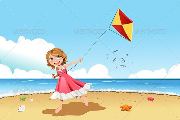 GraphicRiver Girl Flying Kite 6053761