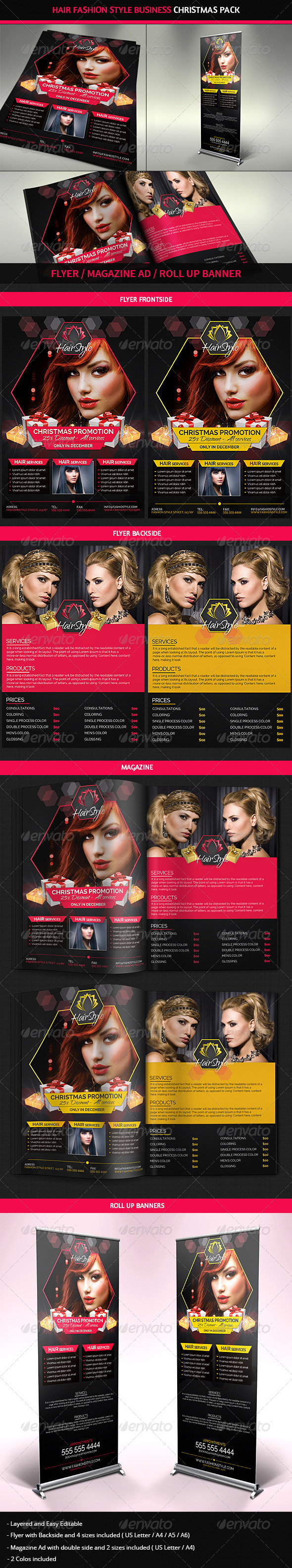 Hair Salon Fashion Christmas Advertising Pack Graphicriver
