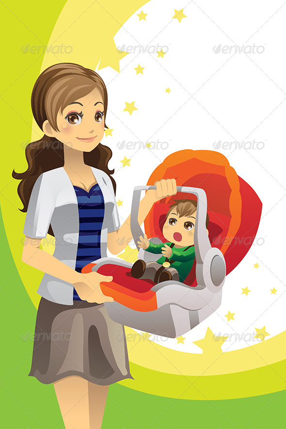GraphicRiver Mother Carrying Baby 6053877