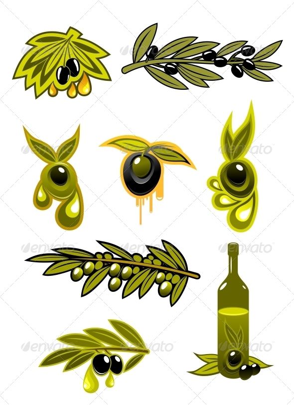 GraphicRiver Green Black Olives and Oil 6053898