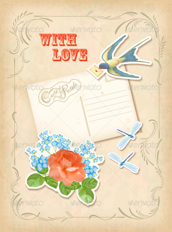 Vintage Scrapbook Elements Retro Card