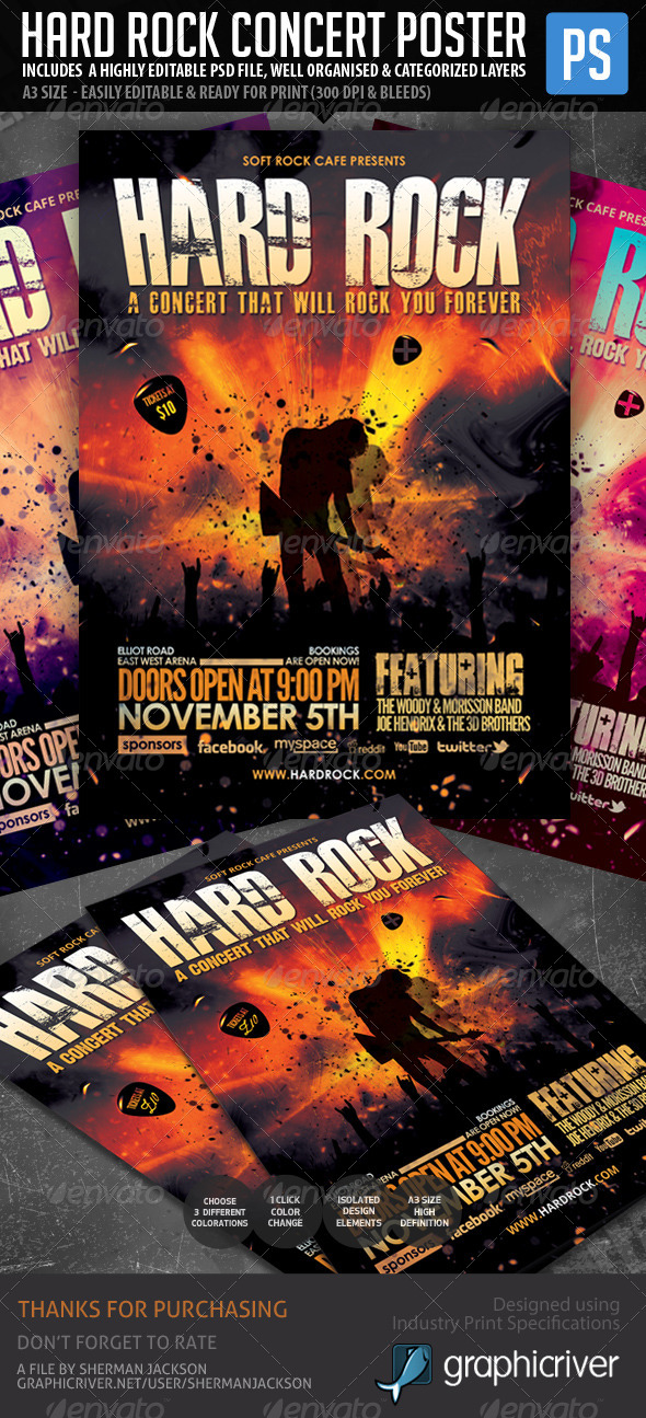 GraphicRiver Hard Rock Poster Flyer Template 6050243